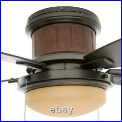 Flush Mount Ceiling Fan Natural Iron Stylish Light Kit Indoor Outdoor Wet Rated