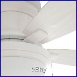 Flush Mount Ceiling Fan With Dome Light Kit 48'' LED Indoor Outdoor Matte White