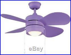 Flush Mount Ceiling Fan with Light Kit LED 36 inch Reversible 4 Blades Purple