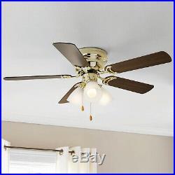 Flush Mount Hugger Ceiling Fan witht 3 Light Kit Bright Brass 42 Inch