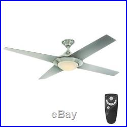 Folsom 60 in. LED Indoor Brushed Nickel Ceiling Fan with Light Kit + Remote