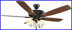 Gazelle 52in. LED Indoor Outdoor Natural Iron Ceiling Fan with Light Kit Outdoor