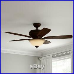 H. Bay Southwind 52 in. LED Indoor Venetian Bronze Ceiling Fan withLight Kit&Remot