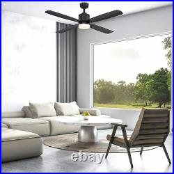 HD Collection Kitteridge 52 in. LED Indoor Matte Black Ceiling Fan with Light Kit