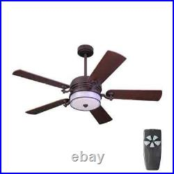 HDC 52 in. Indoor Bronze Organza Shade Ceiling Fan withLight Kit & Remote Control