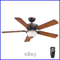HDC Colbert 52in. Indoor TarnishedBronze Ceiling Fan with Light Kit & Remote Ct