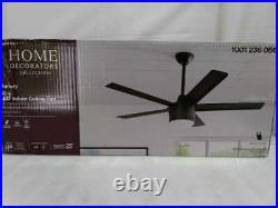 HDC Merwry 52 in. Int. LED Indoor Matte Black Ceiling Fan withLight Kit & Remote