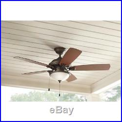 HDC North Lake 52in. LED Indoor/Outdoor Oil Rubbed Bronze Ceiling Fan w Light Kit