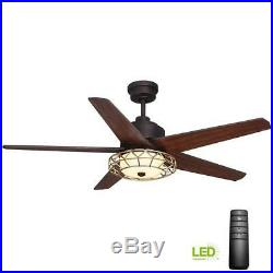 HDC Pemberton 52 in. LED Indoor Oil Rubbed Bronze Ceiling Fan with Light Kit