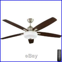 HDC Sudler Ridge 60 in. LED Indoor Br. Nickel Ceiling Fan withLight Kit & Remote C