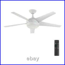 HDC Windward IV 52 in. LED Indoor Matte White Ceiling Fan + Light Kit&Remote