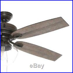 HUNTER 52 in Indoor Outdoor Ceiling Fan LED Light Kit Pull Chain 3 Speed Bronze