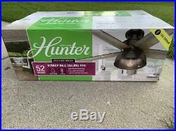 HUNTER Bishop Hill 52 LED Indoor/Outdoor Noble Bronze Ceiling Fan with Light Kit