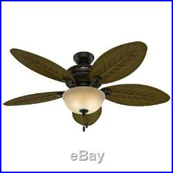 HUNTER Grand Cayman 54 in. In/Outdoor Onyx Bengal Bronze Ceiling Fan withLight Kit