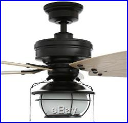 Hampton Bay 46 in. LED Indoor Outdoor Natural Iron Ceiling Fan with Light Kit