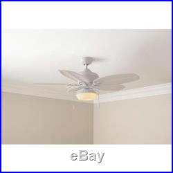 Hampton Bay 48 in. LED Indoor/Outdoor Matte White Ceiling Fan with Light Kit