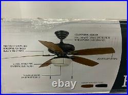Hampton Bay 52 Ceiling Fan Gazebo II Indoor/Outdoor LED Light Kit Natural Iron