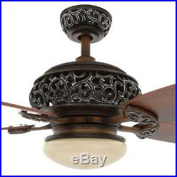 Hampton Bay 52 in. Indoor Caffe Patina Ceiling Fan With Light Kit