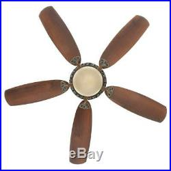 Hampton Bay 52 in. Indoor Caffe Patina Ceiling Fan w. Light Kit & Remote Control