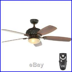 Hampton Bay 52 in. Indoor Caffe Patina Ceiling Fan with Light Kit & Remote Contr