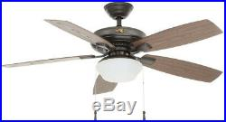 Hampton Bay 52 in. LED Indoor Outdoor Natural Iron Ceiling Fan with Light Kit