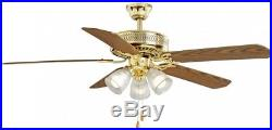 Hampton Bay 52 in. Landmark Indoor Polished Brass Ceiling Fan with Light Kit New
