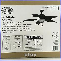 Hampton Bay 56 Ceiling Fan Antigua Plus LED Indoor Light Kit Oil Rubbed Bronze