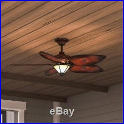 Hampton Bay 56 in. Indoor Outdoor Ceiling Fan with Light Kit and Remote Control
