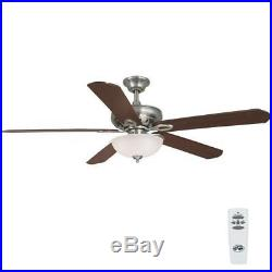 Hampton Bay Asbury 60 in. Indoor Brushed Nickel Ceiling Fan with Light Kit 26612