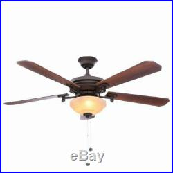 Hampton Bay Baxter II 52 in. Indoor Oil-Rubbed Bronze Ceiling Fan with Light Kit