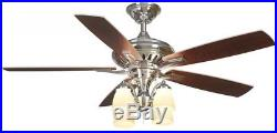 Hampton Bay Bristol Lane 52 Indoor Polished Nickel Ceiling Fan With Light Kit