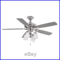 Hampton Bay Bristol Lane 52 Polished Nickel Ceiling Fan with Light Kit 14950