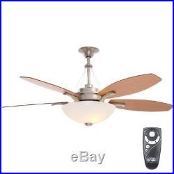 Hampton Bay Brookedale 60 Indoor Brushed Nickel Ceiling Fan, Light Kit & Remote