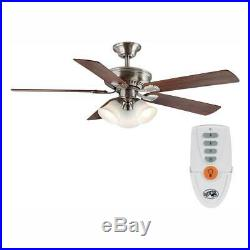 Hampton Bay Campbell 52 in. LED Indoor B. Nickel Ceiling Fan withLight Kit & Remote