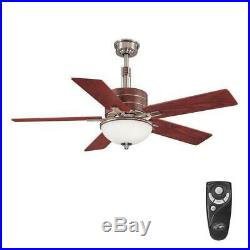 Hampton Bay Carlsbad 52 in. Brushed Nickel Ceiling Fan withLight Kit & Remote NBW