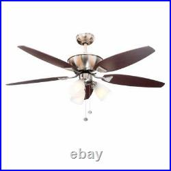 Hampton Bay Carrolton 52 in. Indoor Brushed Nickel Ceiling Fan with Light Kit