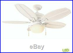 Hampton Bay Ceiling Fan 48 Inch LED Light Kit Indoor Outdoor Pull Chain White