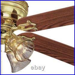 Hampton Bay Ceiling Fan Light Kit 52 Inch LED Indoor Polished Brass 5 Blade