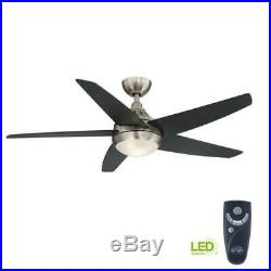 Hampton Bay Ceiling Fan Light Kit with RC Etris LED Indoor Brushed Nickel 52 in