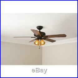 Hampton Bay Ceiling Fan With Light Kit 52 in. 5-Blade 3-Speed Oil-Rubbed Bronze