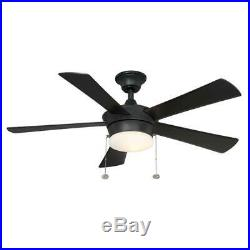 Hampton Bay Corrado 44 in. Indoor Black Ceiling Fan with Light Kit
