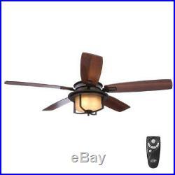 Hampton Bay Devereaux II 52 Oil-Rubbed Bronze Ceiling Fan with Light Kit &Remote