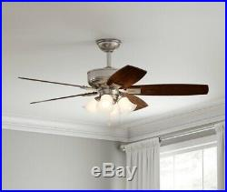 Hampton Bay Devron 52 in. LED Indoor Brushed Nickel Ceiling Fan with Light Kit
