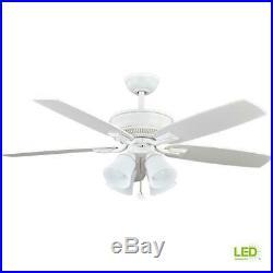 Hampton Bay Devron 52 in. LED Indoor Matte White Ceiling Fan with Light Kit
