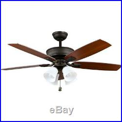 Hampton Bay Devron 52 in. LED Indoor Oil-Rubbed Bronze Ceiling Fan with Light Kit