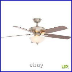 Hampton Bay Flowe 52 LED Indoor Brushed Nickel Ceiling Fan withLight Kit Remote C