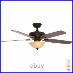 Hampton Bay Flowe 52 LEDMediterranean Bronze Ceiling Fan with Light Kit, Remote