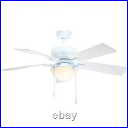 Hampton Bay Four Winds 54 in. Indoor/Outdoor White Ceiling Fan with Light Kit
