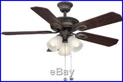 Hampton Bay Glendale 42 In. Indoor Oil-Rubbed Bronze Ceiling Fan With Light Kit