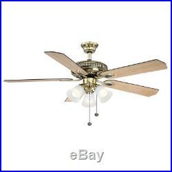 Hampton Bay Glendale 52 in. LED Indoor Flemish Brass Ceiling Fan with Light Kit
